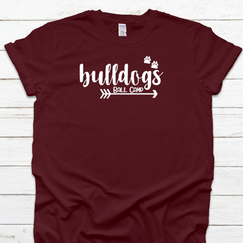 Bulldogs Arrow Paw Maroon Tee