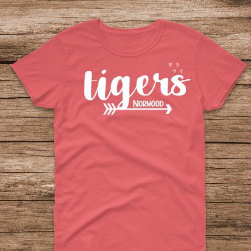 NE Tiger Arrow & Hearts Coral Tee