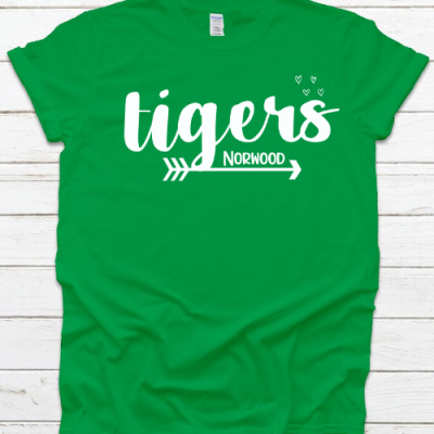NE Tiger Arrow & Hearts Green Tee