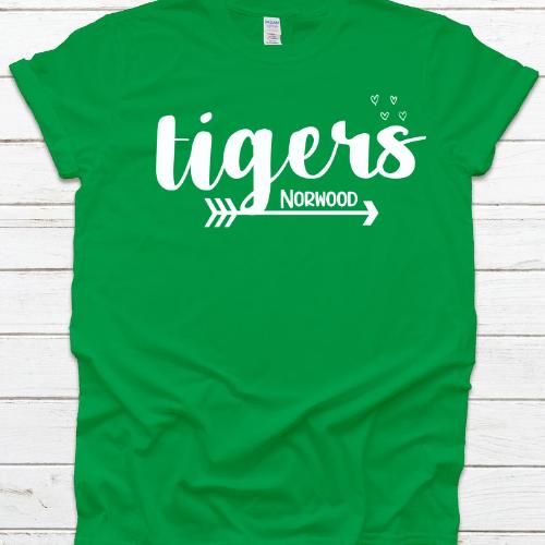 NE Tiger Arrow & Hearts Green Tee