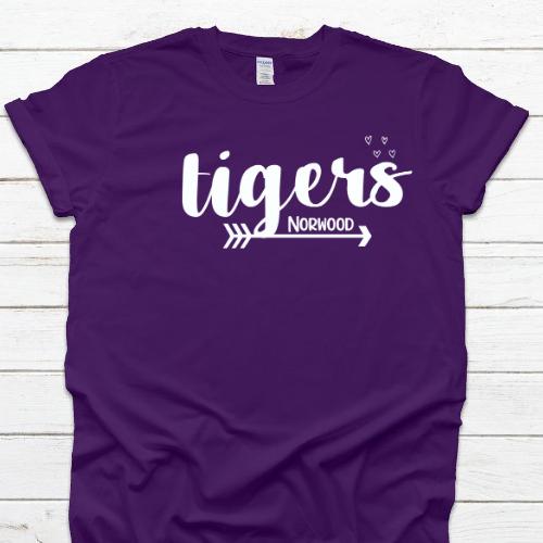 NE Tiger Arrow & Hearts Purple Tee