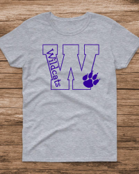 WV106-Big W Wildcats with paw T-shirt