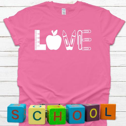 LOVE Teacher Tshirt Hot Pink