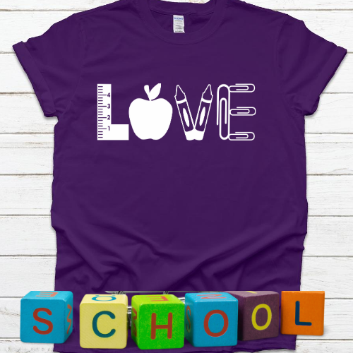 LOVE with apple and crayons Purple