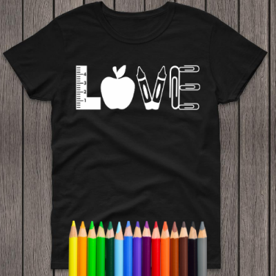 LOVE with apple and crayons black