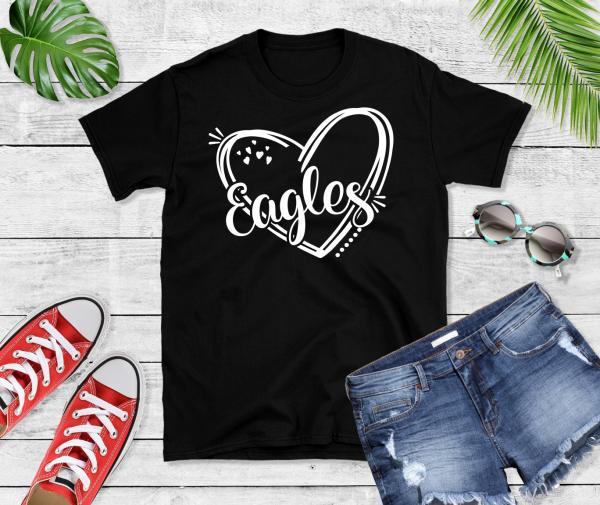 Eagles in heart black shirt