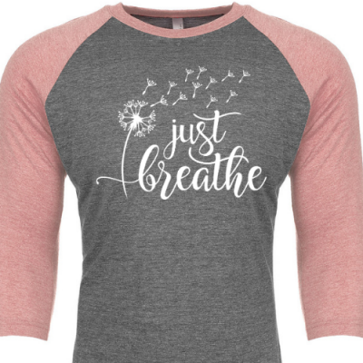 Just Breathe Raglan Pink