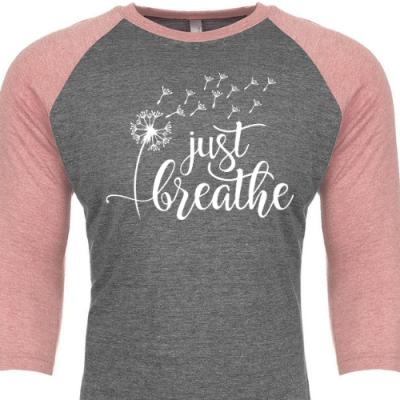 Just Breathe Raglan Pink