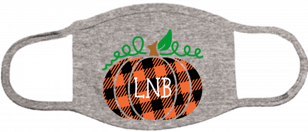 Plaid Monogram Pumpkin Face Mask
