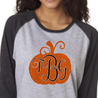 Glitter Pumpkin Monogram