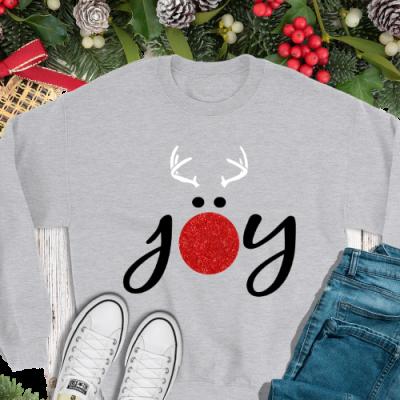 Joy Reindeer Glitter Long Slv Tee