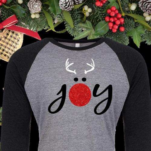 Joy Reindeer Glitter Raglan