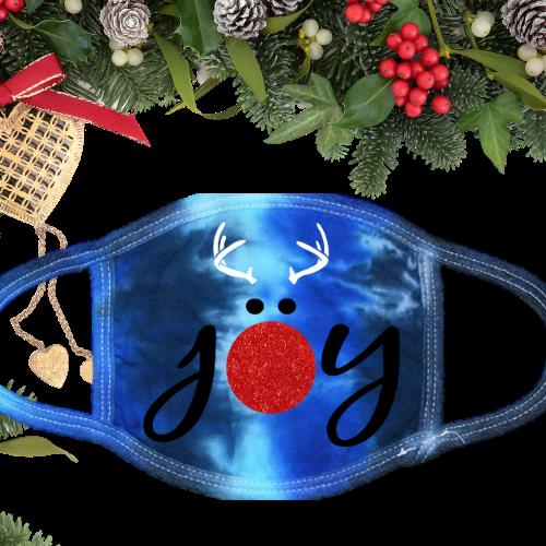 Joy Reindeer Glitter Tie Dye Blue