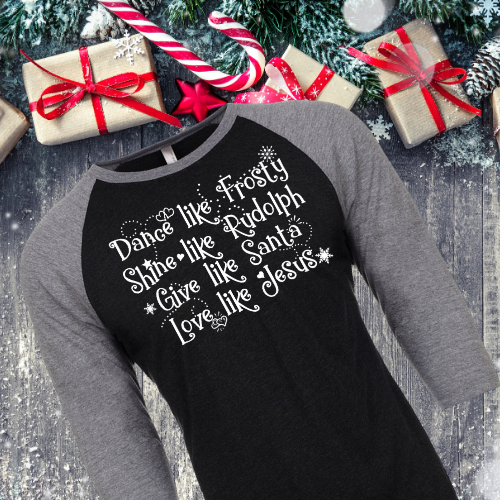 Love Like Jesus Raglan Blk Gray Slv