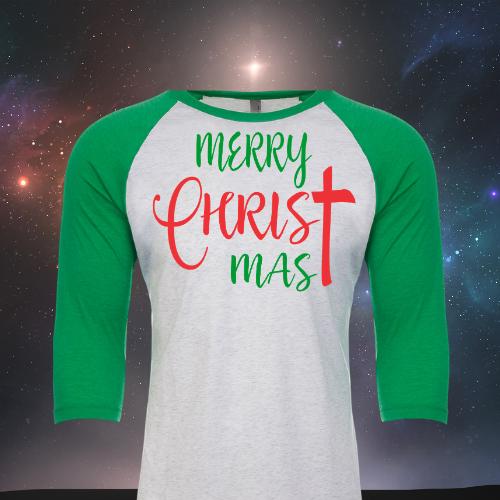 Merry ChrisTmas Raglan Green