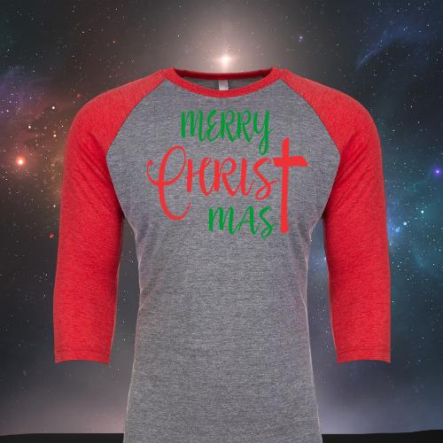 Merry ChrisTmas Raglan Red