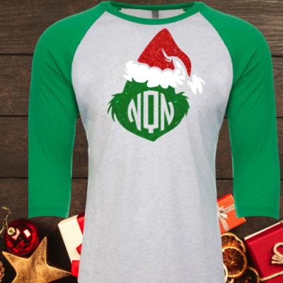 Santa Grinch Monogram Raglan