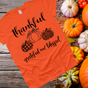 Thankful Grateful and Blessed Org Tee