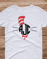 DRS5-Dr. Seuss Cat in the Hat Monogrammed Tee