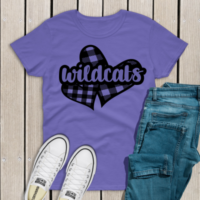 Violet Plaid Heart Wildcats Tee